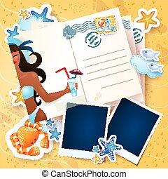 photo, carte postale, fond, vecteur, illustration, frames., été, eps10