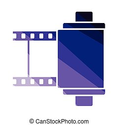 Photo cartridge reel icon. Flat color design. Vector...