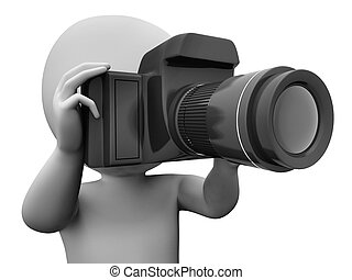 Photo Character Showing Taking An Image Dslr And Photograph