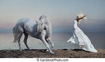 photo, cheval, femme, art, fort