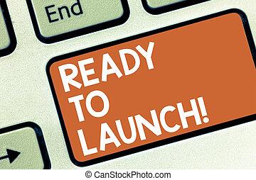 photo, clavier ordinateur, prêt, message, début, créer, écriture, application, conceptuel, nouveau, launch., produit, business, projection, préparé, clã©, promouvoir, idea., intention, main, showcasing, logiciel