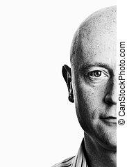 close up shaved male half head portrait - photo close up ...