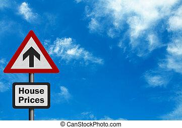 photo, coût, signe, 'house, réaliste, rise'