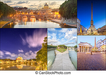 Photo collage from Rome, Italy. Collage includes major...