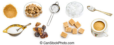 Photo collage of amber brown and white sugar isolated