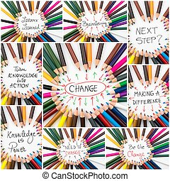 Photo collage of Brainstorming and Change conceptual images