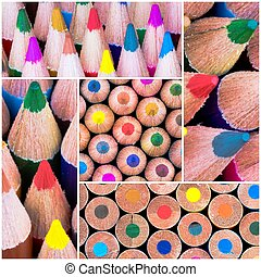 Photo collage of Close up macro shot over colouring pencils