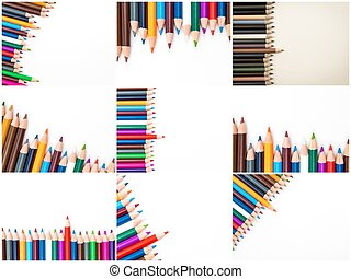 Photo collage of Colouring pencils isolated on white background