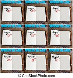 Photo collage of days 23rd to the 31st of month August handwritten on notebook