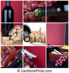 Photo collage of grapes and wine cutlery