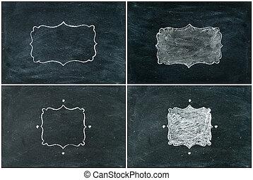 Hand drawing chalk frames on blackboard