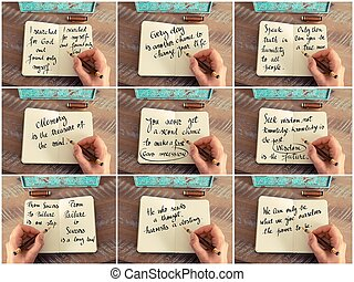 Photo collage of handwritten quotes on notebook - Photo...