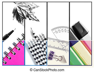 Photo collage of office and student gear over white background. Black and white faded and colored. Back to school, seasonal concept