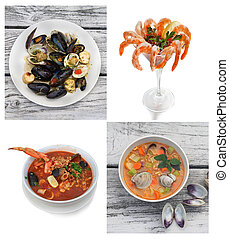 Photo collage of seafood dishes.