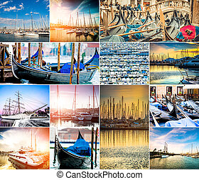 photo collage of ships at the marina
