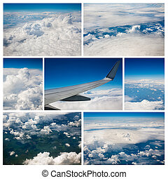 Photo collage of sky and clouds background