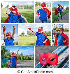 Photo collage of superhero