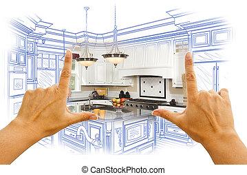 photo, combinatio, conception coutume, encadrement, mains, dessin, cuisine
