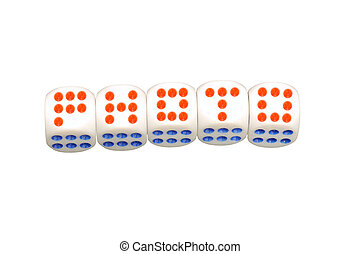 photo concept. Sign as dice on a white background