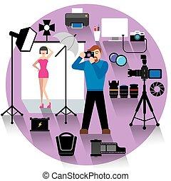 photo, concept, studio, icône