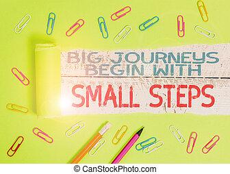 photo, conceptuel, commencer, projection, steps., texte, écriture, grandes affaires, étape, temps, goals., main, une, portée, ton, voyages, petit