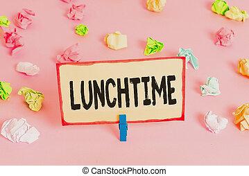 photo, conceptuel, jour, texte, rappel, petit déjeuner, lunchtime., papiers, après, milieu, rose, business, clothespin., avant, écriture, coloré, plancher, dîner, projection, chiffonné, vide, main, repas