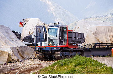 photo, construction, colline, machinerie