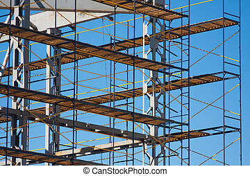 photo, construction, horizonal, échafaudage