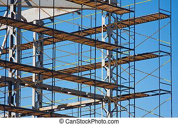 photo, construction, horizonal, échafaudage