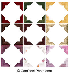 Nine sets of photo corners in different colours and textures - Red velvet, green paper with leaves, gold velvet, dark brown natural paper, dark brown faux suede, light brown natural paper, purple aged material, white natural paper with flower pieces, purple paper with leaves. Path included for each ...