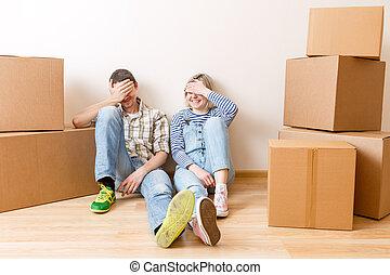 photo, couple, boîtes carton, jeune