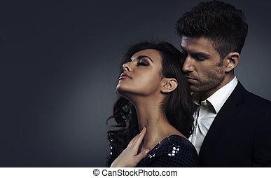 photo, couple, closeup, élégant