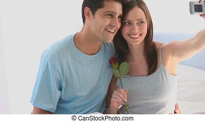 photo, couple, enamored, prendre