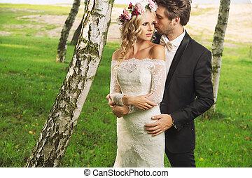 photo, couple, mariage, romantique