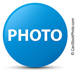 Photo cyan blue round button