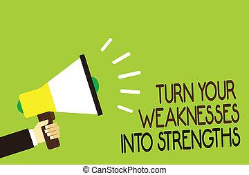 photo, défauts, message, ton, écriture, strengths., tenue, conceptuel, porte voix, parler, les, loud., raid, business, obtenir, projection, faiblesses, main, fond, homme, travail, virage, vert, showcasing