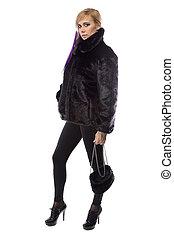 photo, de, femme, dans, court, manteau fourrure, à, sac main
