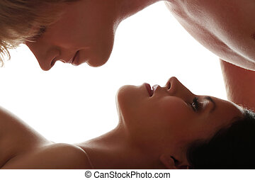 photo, de, jeune, caucasien, couple, (lovers)