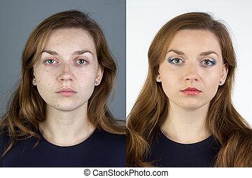 photo, de, jeune femme, before.and.after, grimer