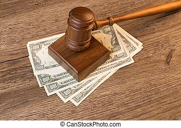photo, de, marteau, sur, billets banque