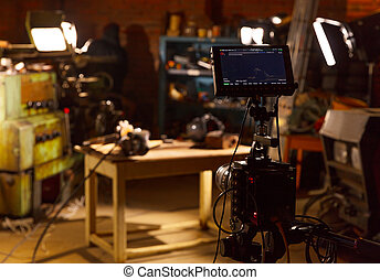 photo, derrière, production, vidéo, scène
