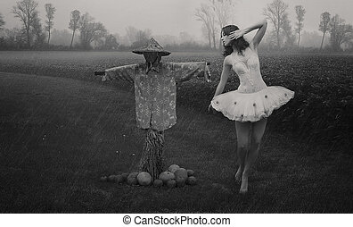 photo-, donna, arte, giovane, multa
