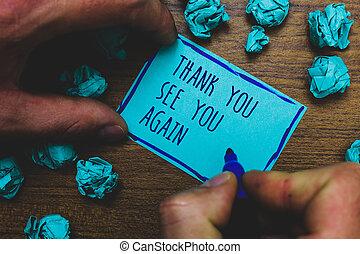photo, dos, voir, papier, remerciement, marqueur, gratitude, prise, remercier, écriture, note, dessiné, vous, être, again., business, projection, bleu, bloc-notes, bosse, bientôt, appréciation, floor., brumeux, main, bois, volonté, showcasing