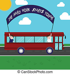photo, dur, signe, dehors, trip., deux, tenue, texte, conceptuel, être, réussi, autobus, projection, crosse, today., bannière, jour, gosses école, débuts, intérieur, travail, confection, efforts, commencer