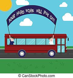 photo, dur, signe, ton, dehors, trip., plomb, choses, deux, tenue, texte, conceptuel, augmenter, autobus, projection, grand, crosse, effort, jour, fermé., gosses école, intérieur, travail, volonté, bannière, payer