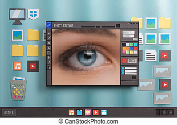 Pictures editing and image retouching using a photo editor, pixels close up, collage and paper cut composition