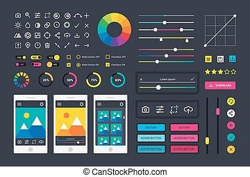 Photo editor app media icons, UI computer elements and photo editor app icons application, UI elements business technology. Photographic photo editor app icons UI elements frames camera.