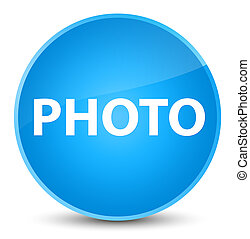 Photo elegant cyan blue round button