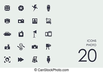 photo, ensemble, icônes