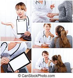 photo, ensemble, patient, docteur féminin